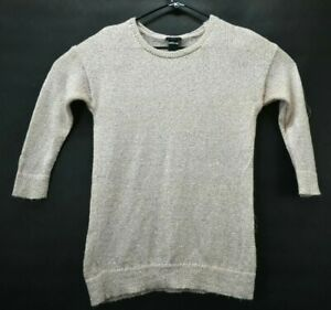Details about Ann Taylor Factory Womens Small Knitted Sequin Wool Blend Crew Neck Sweater Pink