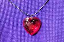 RED HEART NECKLACE Romance BIG Pendant Leather Boho HANDMADE ~ Ships FREE to USA