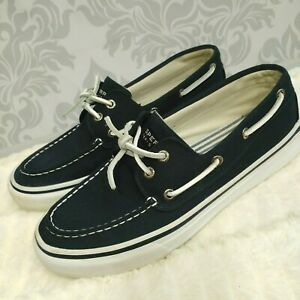 Sperry-Top-Sider-Bahama-2-Eye-Mens-Size-9-Canvas-Boat-Shoes-Navy-White-Slip-On