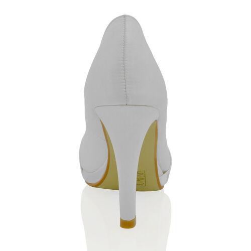 Femme Mariée Chaussures plateforme talon aiguille en Satin Femme Escarpins Taille 3-8