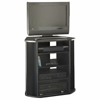 Corner Tv Stand Black Tall Entertainment Center Media Console Furniture Wood