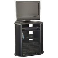 Corner Tv Stand Black Tall Entertainment Center Media Console Furniture Wood