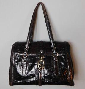 Ann-Taylor-Brown-Reptile-Look-Purse-Handbag-Pocketbook-Great-Size
