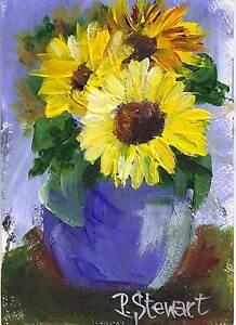 Sunflowers-Blue-Vase-5x7-Original-Art-Acrylic-Painting-with-mat-Penny-StewArt