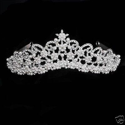 Bride Pearl Rhinestone Headpiece Tiara Wedding Bridal Crown Hair Accessory 1058