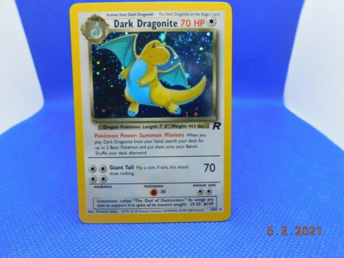 2000 Pokemon TCG - Team Rocket - Dark Dragonite 5/82 - Holographic Rare SWIRL NM