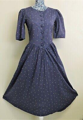 Laura Ashley Vintage Yellow Polka Dots Indigo Cotton Long Tea Dress UK 10 USA 8