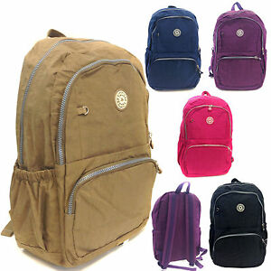 Image Is Loading New Lightweight Nylon Fabric Backpack Rucksack School Travel