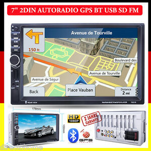 "7"" 2Din 1080P AUTORADIO MIT GPS NAVIGATION BLUETOOTH Player FM AUX-IN USB Mp5 BT"