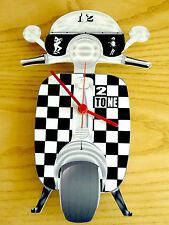 2 Tone Scooter Clock, LI TV SX GP Scooter Wall Clock, Ska Reggae Two Tone Clock