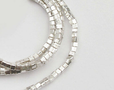 Karen Hill Tribe Silver 200 Cube Beads 1.7mm. 13.5 inches