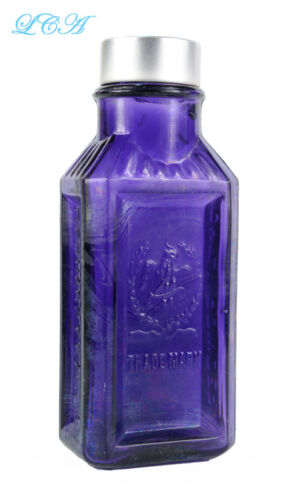 Antique EAGLE CHILI POWDER purple bottle wpic DOUBLE EAGLE embossed in panel!