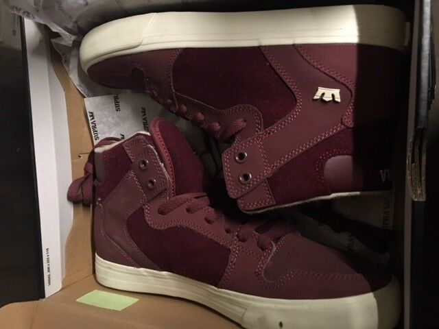 Supra caylor Chaussures suede cuir Vaider Bourgogne Blanc gr:45 us:11 Bottes Neuf