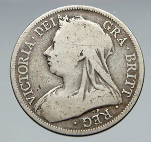 1893-UK-Great-Britain-United-Kingdom-QUEEN-VICTORIA-1-2-Crown-Silver-Coin-i83057