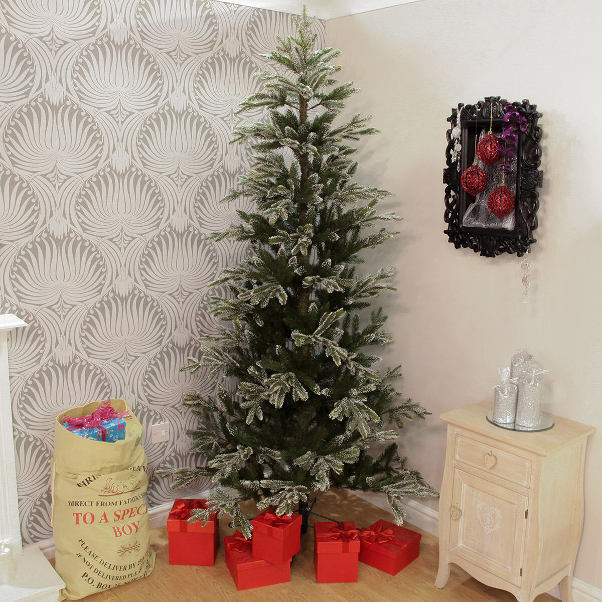 2m Natural Snow Tipped Artificial PE Christmas Tree   Indoor Home Decoration