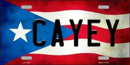 CAYEY PUERTO RICO STATE FLAG BACKGROUND NOVELTY METAL LICENSE PLATE TAG