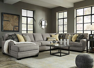 Image Is Loading New 4 Pieces Living Room Sectional Large Gray
