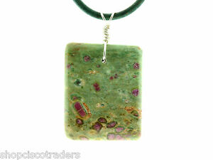 Unisex-Ruby-Zoisite-Sterling-Silver-Wire-Wrap-Necklace-With-Leather-Cord-Reiki