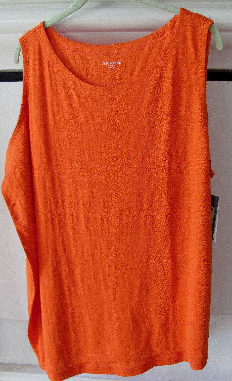Eileen Fisher Organic Linen Ballet Neck Sleeveless Top - Flamingo Orange 1X-