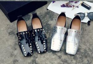 Rivets-Square-Toe-Block-Low-Heels-Slip-On-Loafers-Women-039-s-Shoes-Zsell