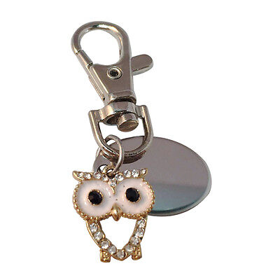 personalised keyring with gift pouch PL503 Love heart owl custom engraved