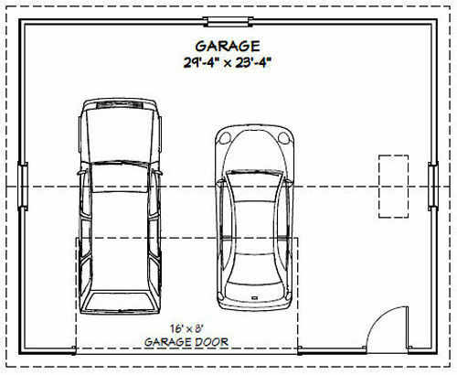 PDF Garage Plan 720 sq ft Model 10C 30x24 2-Car Garage 10ft Walls
