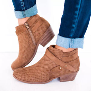 Women-Hollow-Block-Mid-Heel-Ankle-Boots-Buckle-Booties-Round-Toe-Shoes-Plus-Size