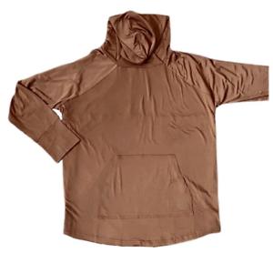 LuLaRoe 2XL Amber hooded sweatshirt solid brown slinky outside fleece inside NWT