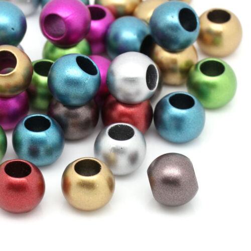 200 Mixte Bijoux Perles Acrylique Spacer pr Bracelet Charm 12mm Dia.B29976
