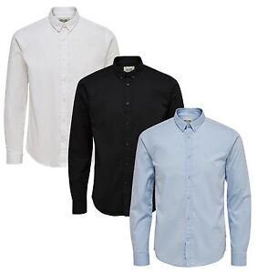ONLY-amp-SONS-Camicia-a-maniche-lunghe-Stretch-da-Uomo-Slim-Fit-Camicie-Semplice-Casual-Eleganti