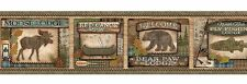 Bear Paw Lodge Wallpaper Border - Moose - Canoe - Fly Fishing - Rustic/Cabin