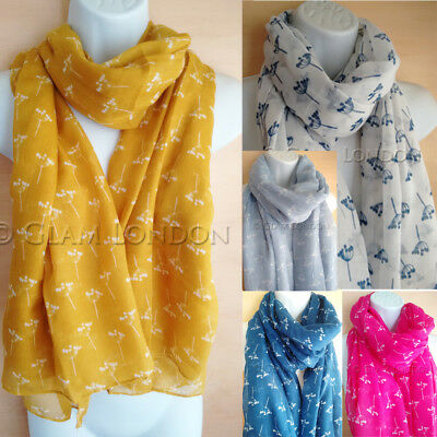 Doodle Flowers Scarf Seed Head Grey Mustard Navy Pink White Ladies Womens Floral