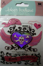 NEW 4 pc ROCK PRINCESS Skull Hearts Wings Pirate Patch  JOLEE'S 3D Stickers