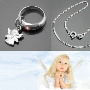 Baby Schmuck Taufkette Taufring Schutz Engel Anhänger