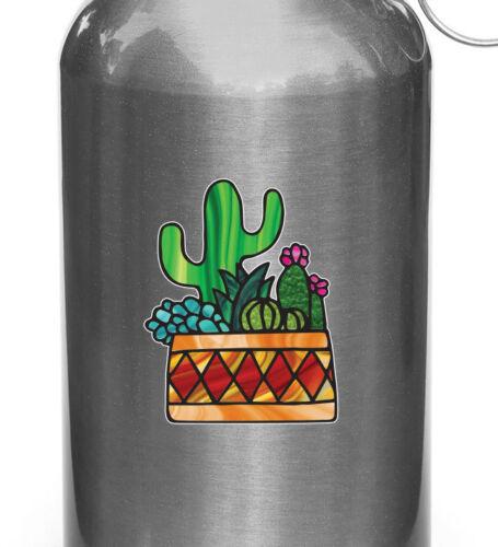 "CLR:WB 3/""w x 3.7/""h Potted Cactus Succulent D3 Vinyl Water Bottle Decal ©YYDC"