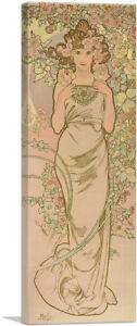 ARTCANVAS-La-Femme-Animee-en-Fleur-Panoramic-Canvas-Art-Print-by-Alphonse-Mucha
