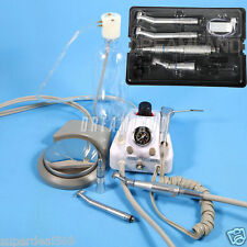 New Dental Portable Turbine Unit 4 Hole Adaptor + High Low Speed Handpiece Kit