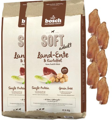 2x12,5kg BOSCH soft adult paeseAnatra & patate cereali libero 6 x orec e conigli
