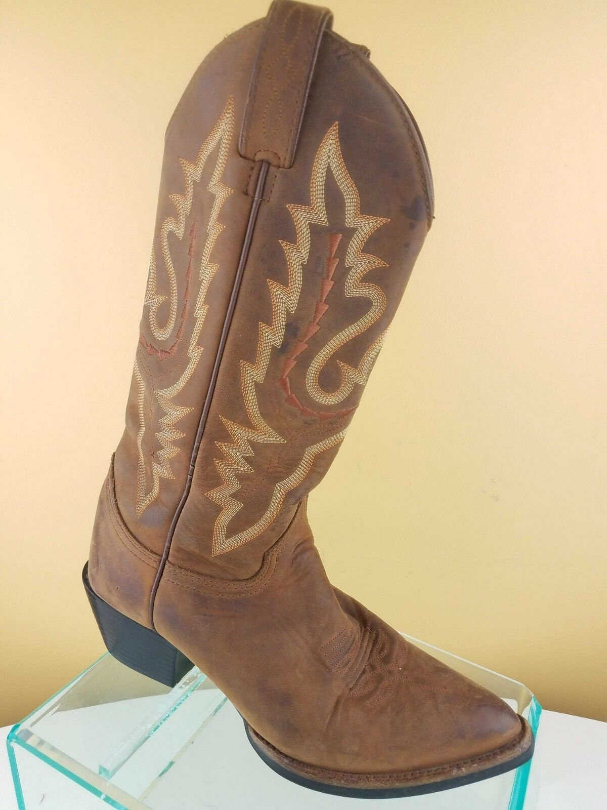 Justin Distressed Brown Leather Snip Toe Pull Up Western Cowboy Boots Womens 6.5