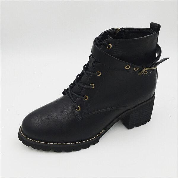 Stivali stivaletti bassi scarpe anfibi 4  cm nero  4 eleganti simil pelle 9513 57a66f