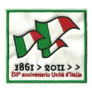 Patch-150-ANNIVERSARIO-UNITA-D-039-ITALIA-cm-8-5-x-8-toppa-ricamata-ricamo-413