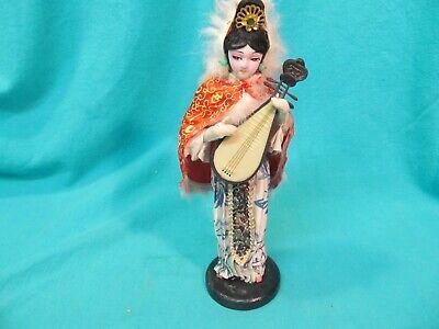 Hand Painted 9 1 2 Chinese Geisha Doll Playing A Pipa Lyre Biwa Lute Ebay