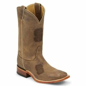 Nocona-MDNCS12-Mens-North-Carolina-State-Brown-Cowhide-Branded-College-Boots
