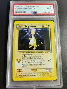 Ampharos   Holo   PSA 9 MINT   2000 Neo Genesis #1   Pokemon