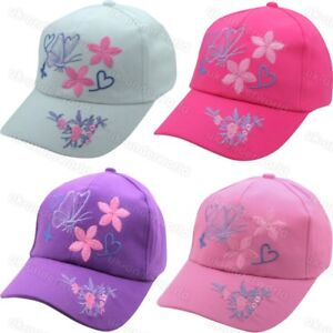 8e980be4dc552 Image is loading Girls-Baseball-Cap-Butterfly-Design-Childrens-Adjustable- Summer-
