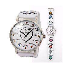 Armbanduhr Damen Silikon Nextime Herz Weiß Silber Weihnacht geschenk Neu modern