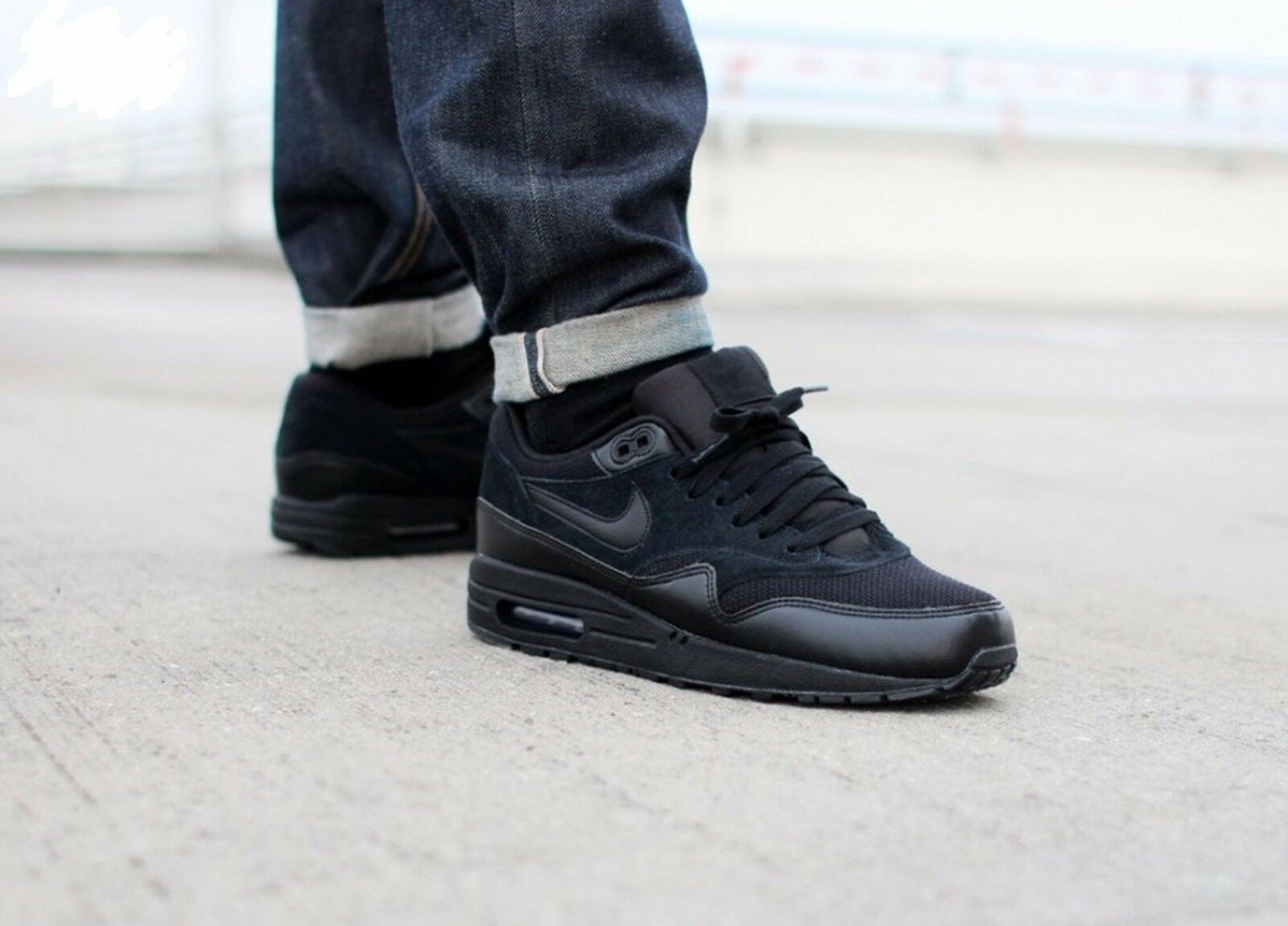 Nike Air Max 1 'TRIPLE BLACK' Shoe Mens Price reduction Great discount