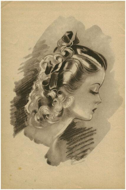 Publicité ancienne portrait femme coiffure mode année 40 no 10