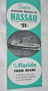 Steamship Brochure Weekend Cruises To Nassau Bahamas SS Florida - Weekend cruises from florida