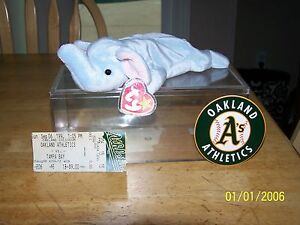 0b0c3994659 Ty Beanie Baby PEANUT OAKLAND A S SGA CARD AND TICKET STUB MINT NEW ...